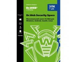 Антивірус Dr. Web Security Space 3 ПК/1 год (Версия 12.0). Картонный конверт (KHW-B-12M-3-A2)
