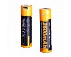 Акумулятор Fenix 18650 2600 mAh micro usb зарядка (ARB-L18-2600U)