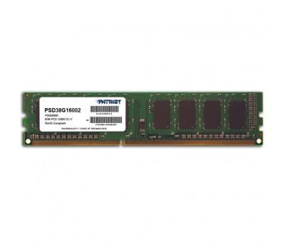 Модуль пам'яті для комп'ютера DDR3 8GB 1600 MHz Patriot (PSD38G16002)