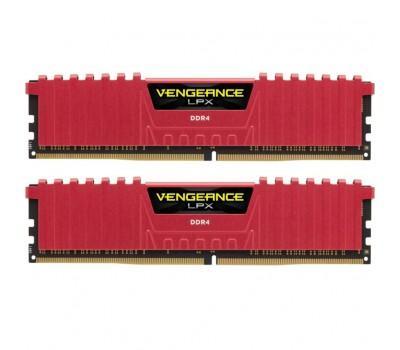 Модуль пам'яті для комп'ютера DDR4 16GB (2x8GB) 3200 MHz Vengeance LPX Red CORSAIR (CMK16GX4M2B3200C16R)