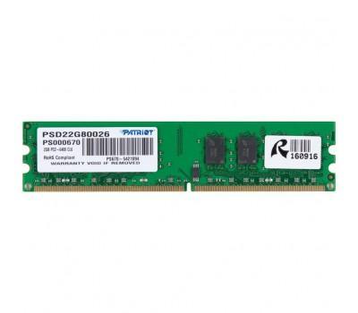 Модуль пам'яті для комп'ютера DDR2 2GB 800 MHz Patriot (PSD22G80026)
