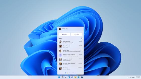 Microsoft выпустила предварительную сборку Windows 11 со встроенными чатами Teams