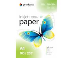 Папір А4 200г, PrintPro глянцевий, PG200-100 (PGE200100A4)