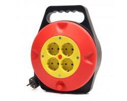 Мережевий подовжувач PowerPlant на катушке 10 м, 4 розетки (JY-2002/10) (PPRA10M100S4)