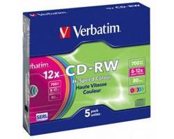 Диск CD Verbatim 700Mb 12X SlimBox 5шт Color (43167)