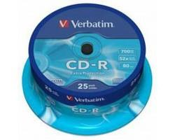 Диск CD Verbatim 700Mb 52x Cake box 25шт Extra (43432)