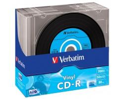 Диск CD Verbatim 700Mb 52x Slim case Vinyl AZO (43426)
