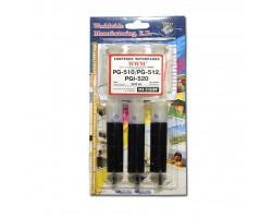 Заправочний набір WWM Canon PG-510/PG-512 (3х20 мл) Black Pigmented (IR3.C10/BP)